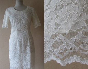 scallop hem cream ivory lace vintage 80s fitted dress scoop neck boy con style preppy cottage chic lacy romantic church - medium M large L