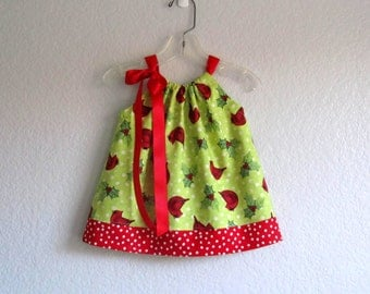 Baby Girls Christmas Dress and Bloomers Outfit - Red Cardinals and Mistletoe - Infant Holiday Dress - Size Nb, 3m, 6m, 9m, 12m or 18m