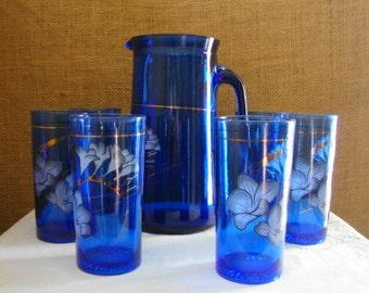 Vintage 7 PC COBALT BLUE Hand Painted Glassware Set Pitcher With 6 Drinking Glasses True Blue Cobalt Glassware Pitcher Four Tumblers Serving