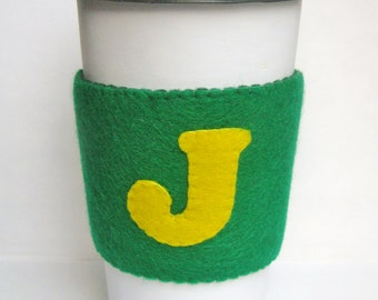 Personalized Initial Coffee Cup Cozy Sleeve / Monogrammed Bridesmaid Gift / Valentine's Day / Coffee Lover Accessory / Teacher Gift Under 10