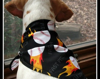 DOG Bandana-Softball-Fast Pitch- Dog Scarf-Classic Triangle Tie-fits medium and large dogs-dog model in photo has 15 inch neck-Ready to ship
