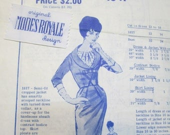 Modes Royale 1817 50s Crop Jacket Sheath Dress Sewing Pattern Bust 36 with Modes Royale Label