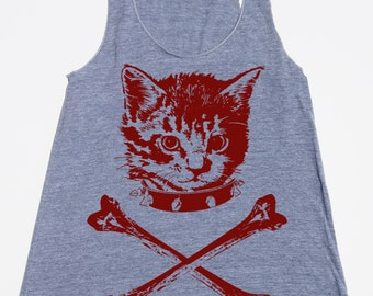 womans racerback tank top- kitten crossbones- American Apparel athletic gray - available in XS,S,M, L- Worlwide Shipping