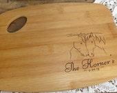 Personalized Wood burned Cutting Board Horses Design