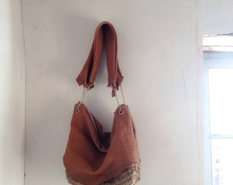Large Slouchy Hobo in Handweave and CaramelTexture Leather. Luxury Boho Chic Style