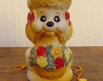 Vintage Poodle - Critter Bell - Jasco - Porcelain Bisque - Poodle Statue