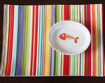 Pet Food Mat - Colorful Stripes in Small Size