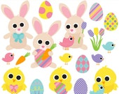 easter clipart bunny rabbit chick clip art digital - Happy Easter Clipart