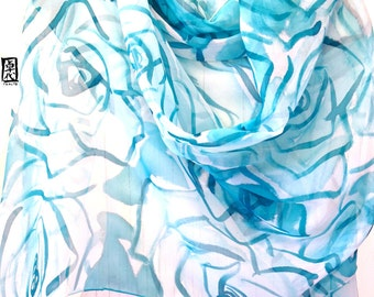 Hand Painted Silk Shawl Blue, Turquoise Ocean Blue Roses, Silk Chiffon Scarf, Blue Silk Shawl, Silk Scarves Takuyo. Approx 21x87 inches