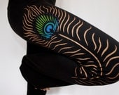 Womens Yoga Pants, Peacock Feather, Hand Painted, Gifts for Her