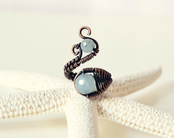 Aquamarine Ring Copper Wire Wrapped Jewelry Wedding Ring Adjustable Anniversary Promise Ring March Birthstone Sea Jewelry