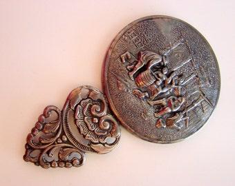 Denmark Repousse Bevel Hand Purse Mirror / Art Nouveau Motif / Vintage Vanity