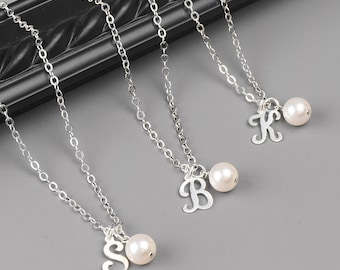 Pearl Initial Necklace SET OF 8 - 15% OFF Personalized Bridesmaid Jewelry Set - Sterling Silver Swarovski Pearl Bridesmaid Necklaces