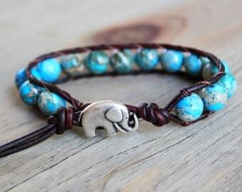 Wrap Bracelet - Elephant Bracelet - Beaded Leather Wrap - Elephant Jewelry - Jewelry for Luck