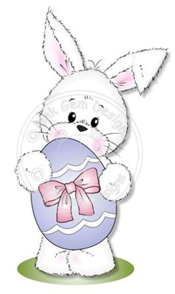 Digital Digi Cute Easter Bunny Stamp Card Making Paper – Easter Stamps Card Making