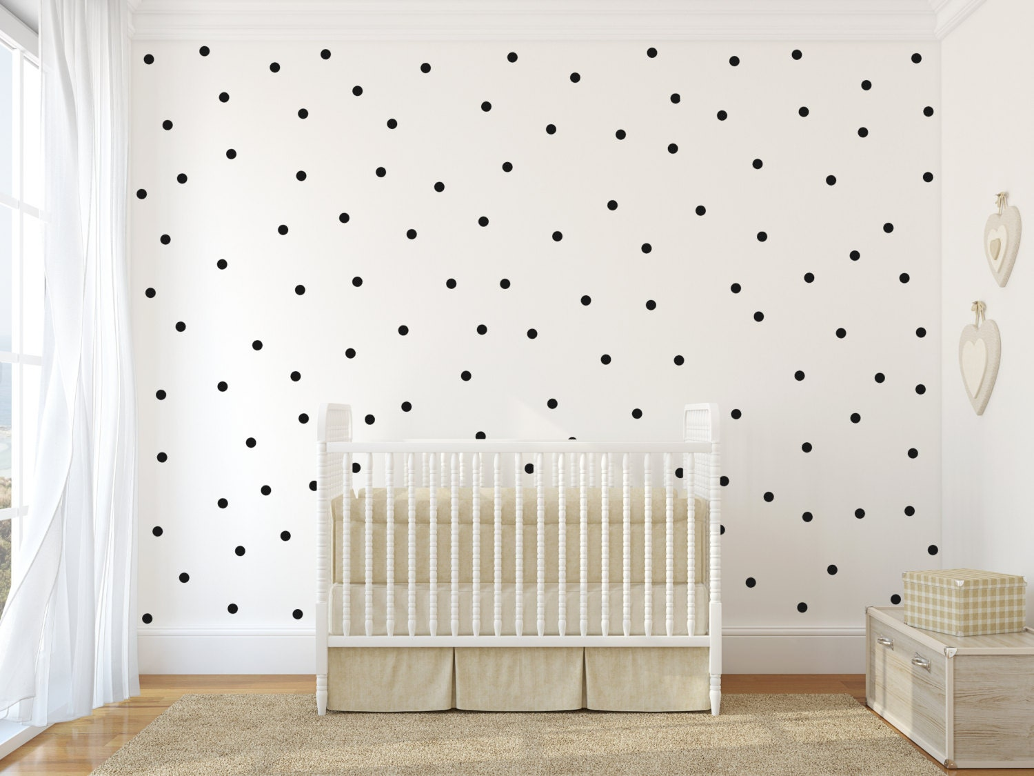 small polka dot vinyl wall sticker decal art decor nursery. Black Bedroom Furniture Sets. Home Design Ideas