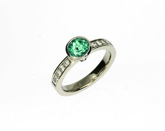 Indigolith tourmaline engagement ring, Platinum ring, bezel, diamond engagement, green tourmaline, tourmaline solitaire, mint gemstone