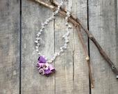 Crochet Necklace, Lavender Pink Crochet 3 D Bellflowers Oya Necklace Natural Stones Beaded Jewellery, Beadwork, ReddApple, Fast Delivery