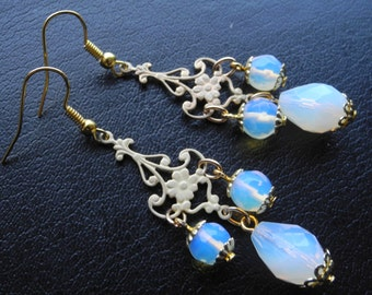 SALE 30%! Bridal Opal Earrings Vintage Wedding White Teardrop Earrings Victorian Inspired