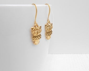 Clearance SALE - Gold owl earrings, Owl charm, Owl jewelry