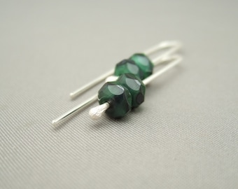 Adder Green Oblong Czech Glass Sterling Silver Chic Earrings