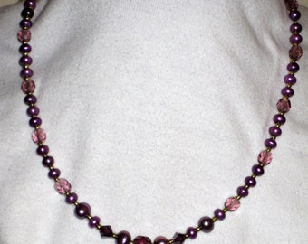 Purple Pearl and Crystal Springtime necklace