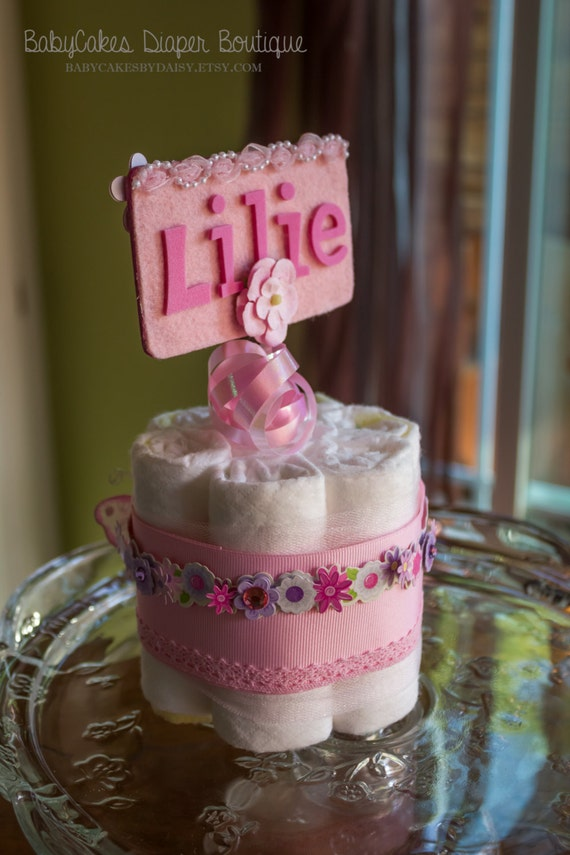 It's a Girl | Diaper Cake | Diaper Cake Centerpiece | Baby Shower Gift for a Girl | Butterfly Diaper Cake | Centerpiece | Baby Girl Shower