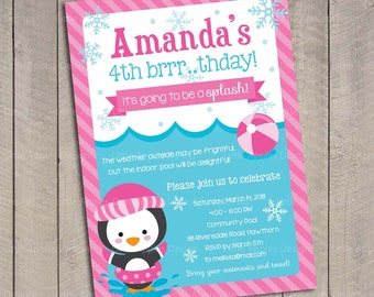 Winter Pool Invitation / Winter Pool Party Invitation / Winter Kids Pool Party Invitation / kids pool party / Pool birthday / Pool Invite