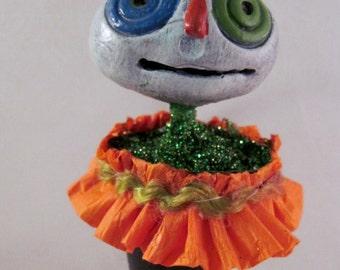 Halloween Ornament, OOAK Paperclay Cone Figure Halloween Gift     ON SALE