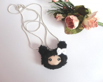 Necklace with Bunny Doll face with polymer clay fabric furry chain snake kawaii cute collier fille lapin rose