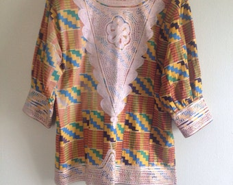 Authentic 60's Psychedelic Embroidered Daishiki - size small, medium, tunic, ultra mini dress