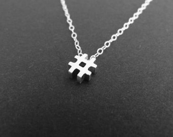Hashtag necklace in sterling silver, typography charm