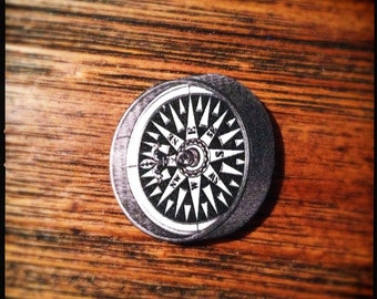Use The Magnetic Force Field 'IRON'ic Anti-Compass Compass - Wearable Black Compass Illustration Brooch
