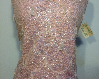 FREE SHIPPING   1950  Bead sequin  Sweater