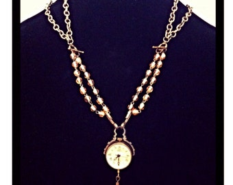 "Vintage ""Alpha and Omega"" Pocket Watch Statement Necklace - Free Shipping - LAYAWAY PLANS"