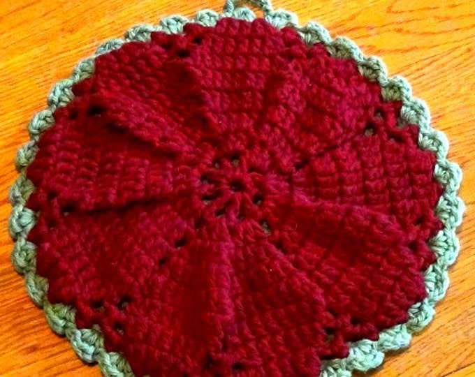 Hot Pad - Holiday or Any Day Trivet - Maroon and Sage 2 sided hotpad from Mainely Handcrafts