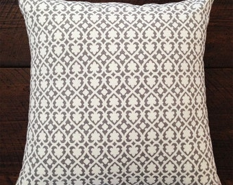 "16x16"" Taupe Pattern Pillow Cover"