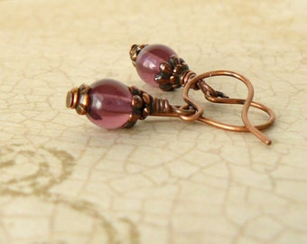 Plum Beaded Earrings Small Amethyst Glass Bead Dangles on Antique Copper Vintage Style Romantic Jewelry Small Dangle Earrings