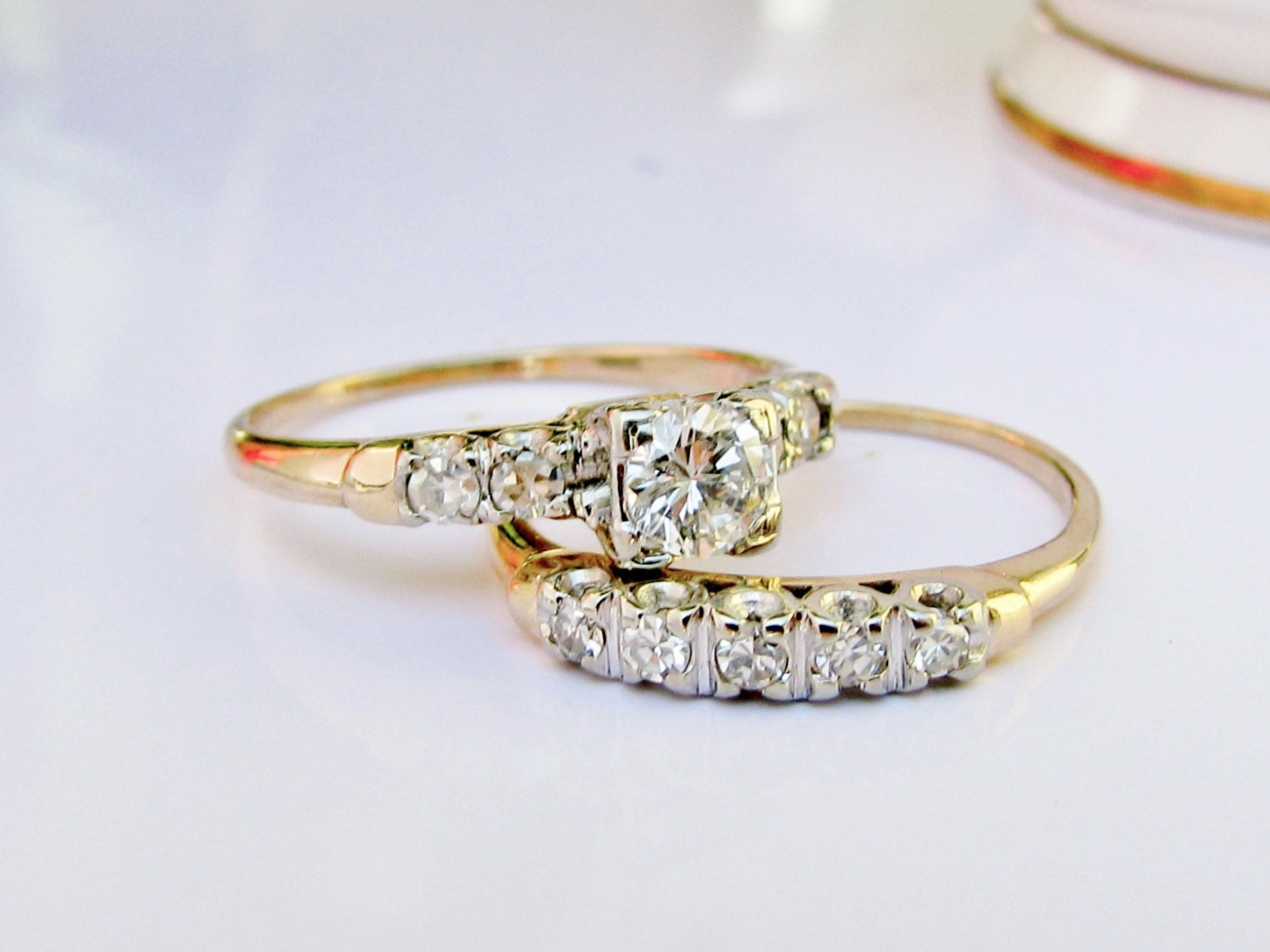 Vintage engagement ring diamond wedding band set 14k two tone for Wedding band for engagement ring