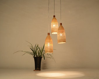 Large bamboo and wood basket pendant lamp ceiling lamp bottle shape bamboo and wood pendant lamp ceiling lamp hanging lamp lamp set aloadofball Image collections