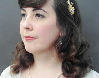 Gold Bridal Headband, Gold Wedding Headband, Beaded Headband, Gold Wedding Tiara, Wedding Hair Accessories, Vintage Headband, Wedding Hair