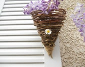 Rustic Primitive Wall Pocket / Handmade Wisteria Vine Cone / French Country Cottage / Wedding / Farmhouse Chic