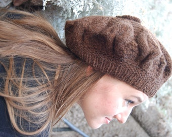 Alpaca beret - fair trade womens beret hat handknit in brown chilean alpaca wool  - 15% off orders of over 100 dollars, coupon: 15PERCENTOFF