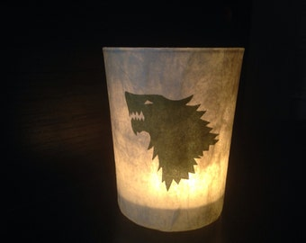 Game of Thrones Glass Candle Holder - House of Stark gold silhouette, Made to Order
