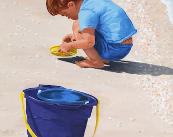 Sorting Shells - 16x20 inch giclee print on canvas