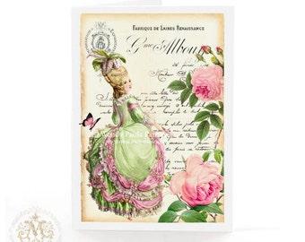 Marie Antoinette card, birthday card, friendship card, blank all occasion card