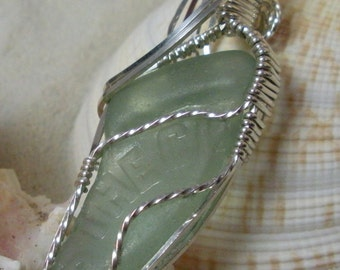 Soft Green Genuine Beach Glass in Sterling Silver Wire Wrapped Pendant