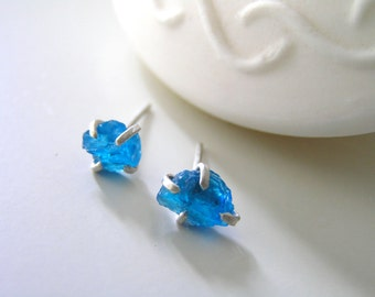 Neon Blue Rough Apatite Prong set Stud Sterling Silver Earrings.