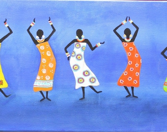 "African art painting folk art painting, Latin American Art, Original, Handmade Art Painting Abrstract Acrylic  ""Group Dance""  By Maite Tobon"
