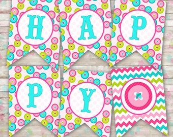 Cute as a Button Happy Birthday Banner Printable DIY (INSTANT DOWNLOAD)